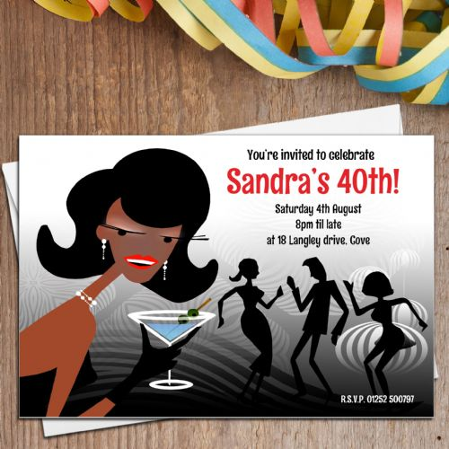 10 Personalised Cocktail Disco 18th 21st 30th 40th 50th Birthday Party Invitations N4